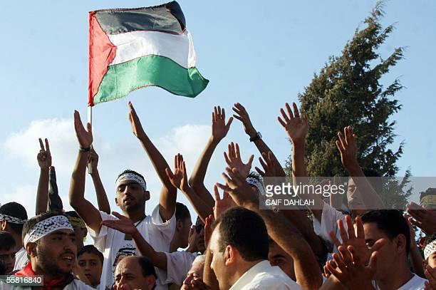 Palestinians celebrate in the former West Bank Israeli settlement of Sanur the fifth year of Intifada 28 September 2005 It is five years since the...