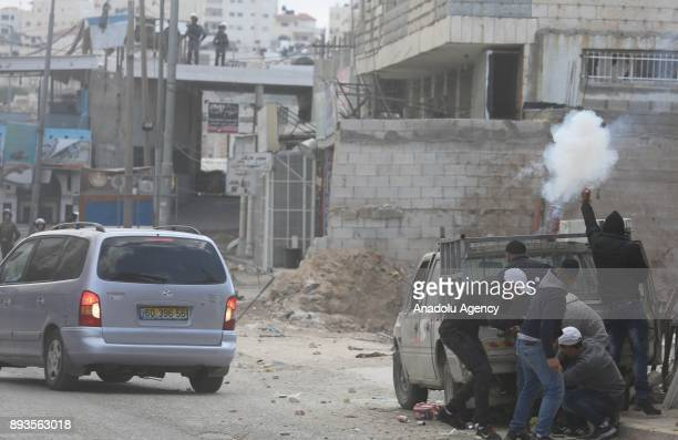 Palestinians clash with Israeli security forces during a protest against US President Donald Trumps announcement to recognize Jerusalem as the...