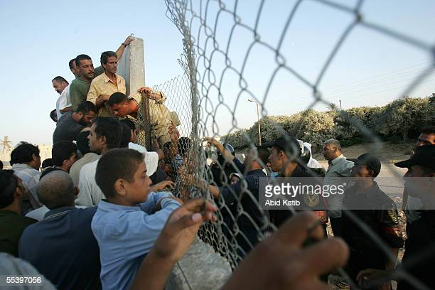 Palestinians cross the now EgyptianPalestinian controlled border September 13 2005 in Rafah Gaza Thousands of Palestinians and Egyptians crossed the...