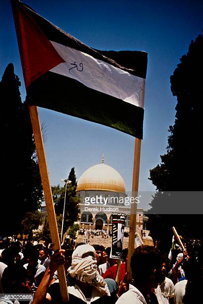 Palestinians demonstrate in front of the AlAqsa Mosque Jerusalem June 1989