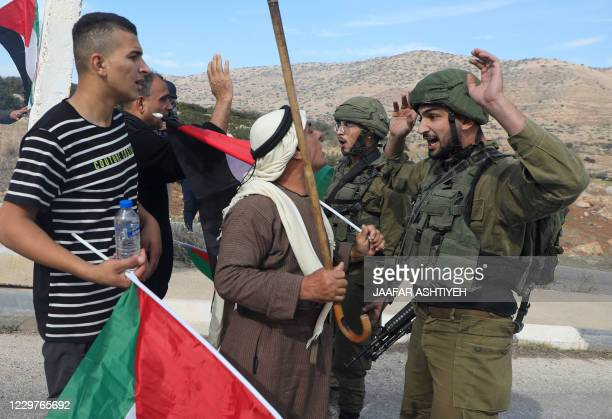 Palestinians demonstrators argue with an Israeli soldier during a protest against Jewish settlements on November 24 in the Jordan Valley in the...