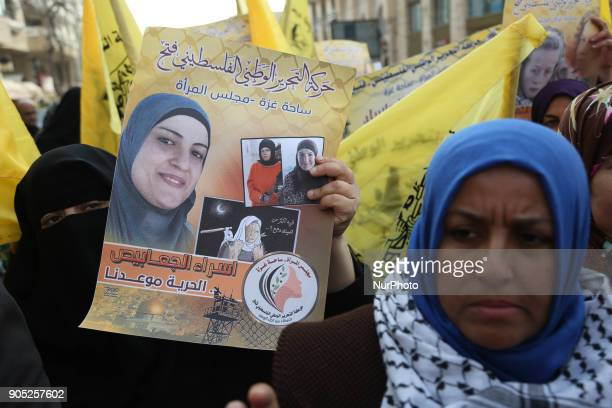 Palestinians during a support demonstration Ahed Tamimi adn Esraa AlJabbais in Gaza City on January 15 2018