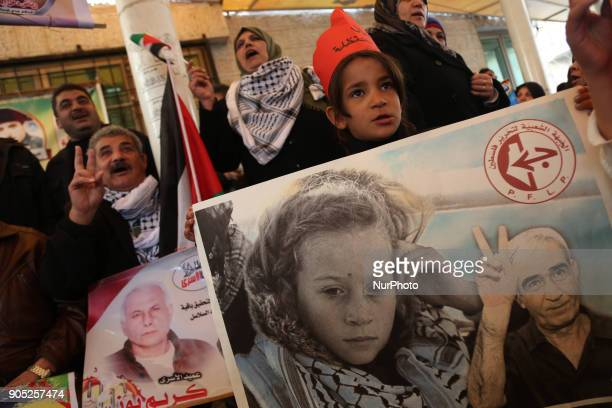 Palestinians during a support demonstration Ahed Tamimi in Gaza City on January 15 2018 Israel has charged Ahed Tamimi a Palestinian teenager with 12...