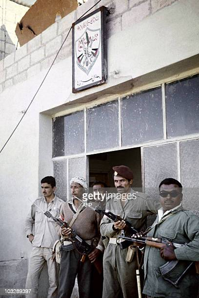 Palestinians fedayins stand guard near their headquarters in Irbid in September 1970 during the fights between the Jordanian army and Palestinian...