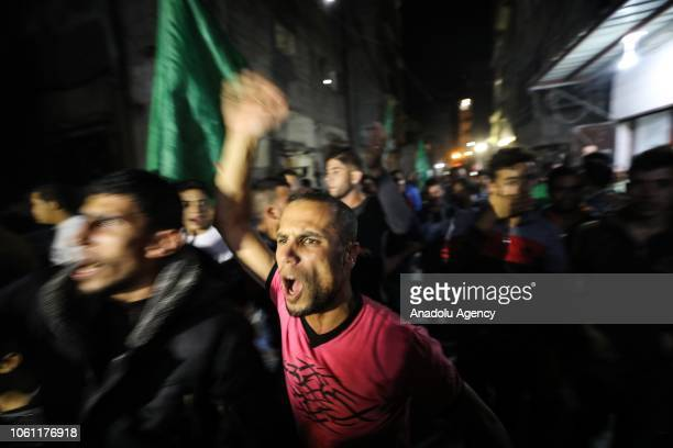 Palestinians gather at Jabalia Refugee camp during a demonstration to support Palestinian resistance against Israeli violences after truce between...