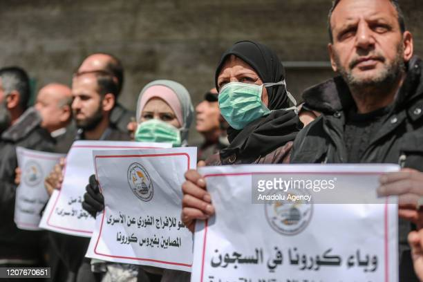 Palestinians gather for a demonstration to demand coronavirus protection for Palestinian prisoners held in Israeli jails, in Gaza City, Gaza on March...