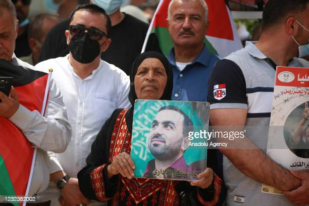 Palestinians gather to stage a protest in support of the Palestinian prisoners in Israeli jails during Palestinian Prisoners' Day in Ramallah, West...