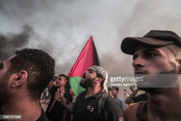 Palestinians gather to support the maritime demonstration to break the Gaza blockade by sea with vessels in Gaza City Gaza on October 22 2018