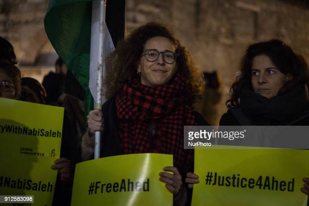 Palestinians Greeks and other supporters gathered in Monastiraki square Athens Greece on 30 Jnaury 2018 to protest the arrest of Palestinian activist...