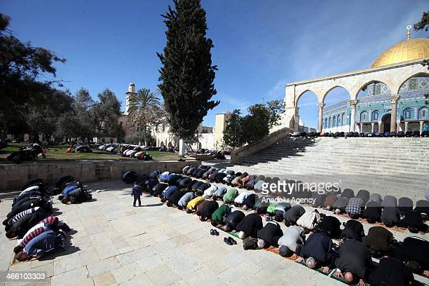 Palestinians in Jerusalem hold a protest against Bashar alAssad the President of Syria following the friday prayer at Al'Aqsa Mosque on January 31...