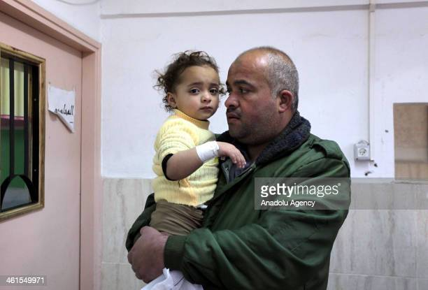 Palestinians including a child are reported to be wounded as a results of the air strike on Khan Yunis West Bank on January 9 2014