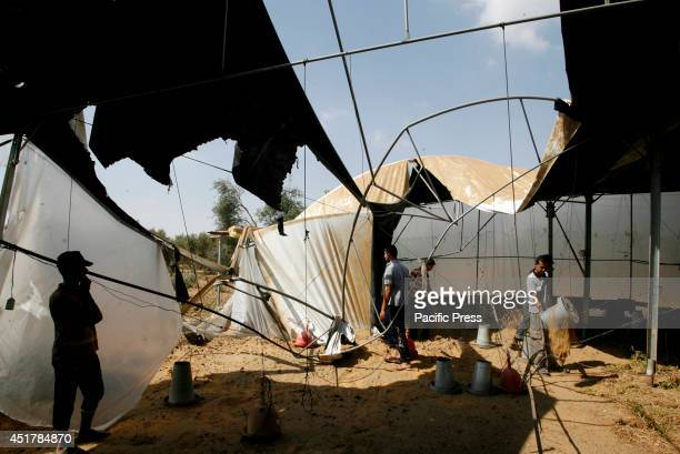 Palestinians inspect what police said was a chicken coop damaged in a nearby Israeli air strike in Khan Younis in the southern Gaza Strip. Israeli...