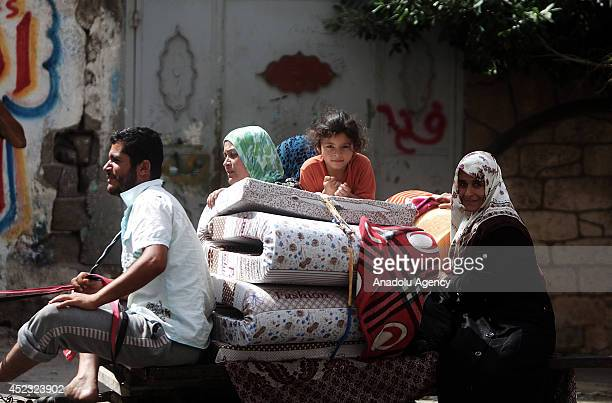 Palestinians migrate to safer regions due to Israel's attacks in Gaza city Gaza on 18 July 2014 260 people died and 1980 people wounded during the...