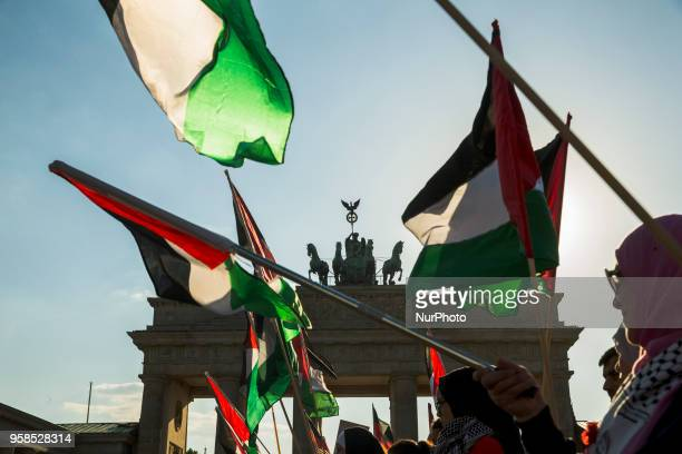 Palestinians protest against opening of US Embassy in Jerusalem in front of Brandenburg Gate and the US Embassy in Berlin, Germany on May 14, 2018.