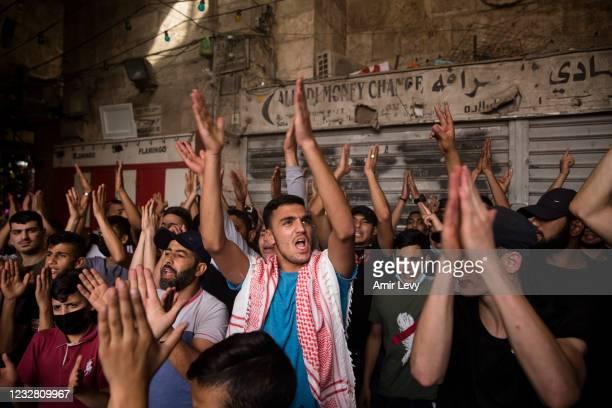 Palestinians protest at Damascus Gate in Jerusalem's old city during Israel's 'Jerusalem Day' on May 10, 2021 in Jerusalem, Israel. The Israeli...