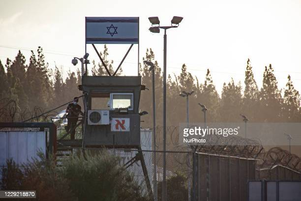 Palestinians protest at Megiddo in northern Israel on 21 October to demand the release from Israeli prison of 49-year-old Palestinian man Maher...