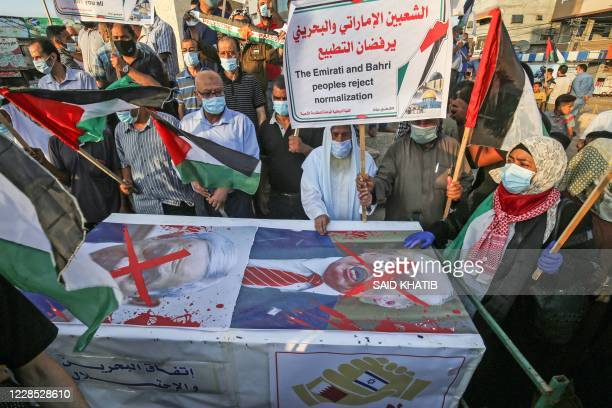 Palestinians protest in Rafah in the southern Gaza Strip against Israeli normalisation deals with the United Arab Emirates and Bahrain on September...