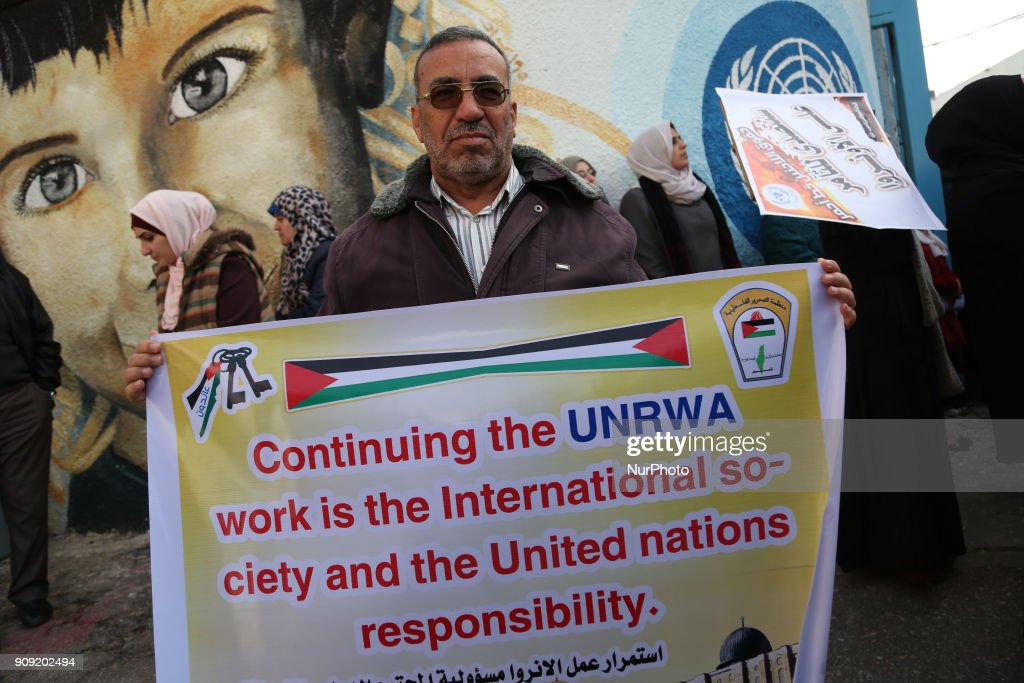 Palestinians protest outside of the UN offices in Gaza city