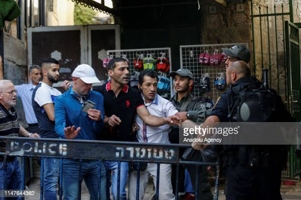 Palestinians react against the march of Jews at Jerusalems Old City on June 02 2019 Jews participated in a celebration march as part of the 52nd...