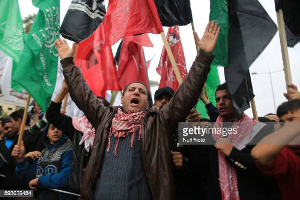 Palestinians shout slogans during a demonstration against US President Donald Trump's recognition of Jerusalem as Israel's capital in Gaza City Gaza...
