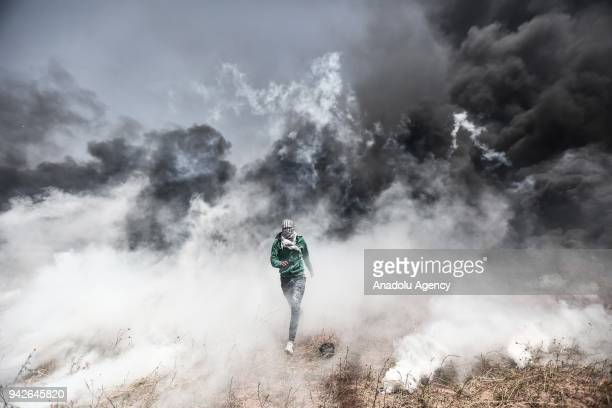 Palestinians stage a demonstration within the 'Great March of Return' despite Israel's threats near the Gaza/Israel border in Khan Yunis Gaza on...