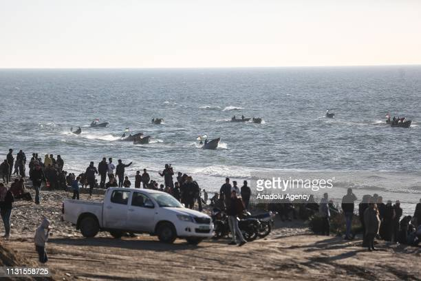 Palestinians stage a maritime protest against Israels ongoing blockade of Gaza on the strips northern coast, in Beit Lahia, Gaza on March 19, 2019.