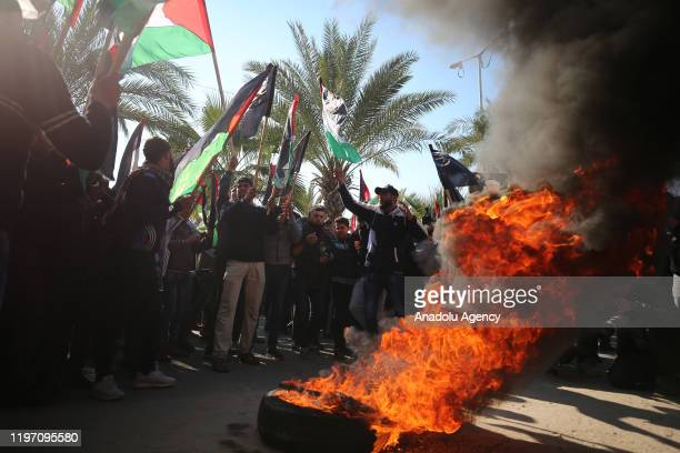Palestinians stage a protest against Deal of Century in Gaza City, Gaza on January 28, 2020.