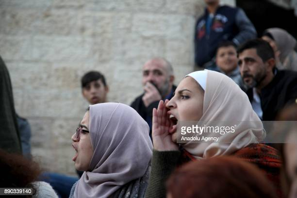 Palestinians stage a protest against U.S. President Donald Trumps announcement to recognize Jerusalem as the capital of Israel and plans to relocate...