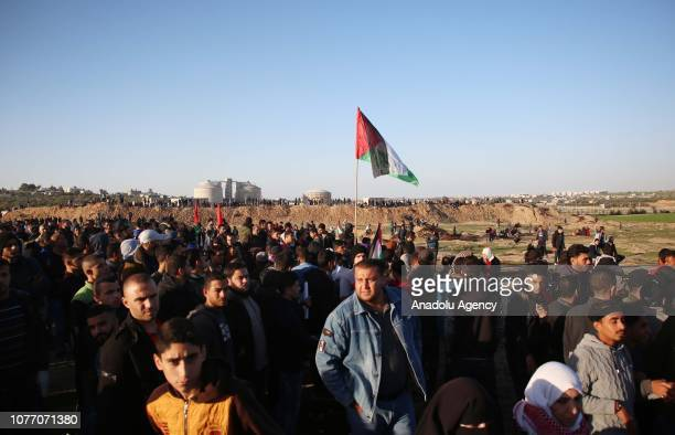 Palestinians stage a protest within the Great March of Return demonstrations at Al Bureij Refugee Camp in Gaza City Gaza on January 04 2019
