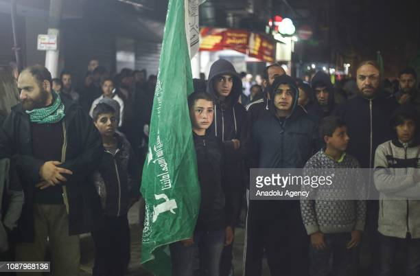 Palestinians stage a solidarity demonstration for the Palestinian prisoners in Israeli jails in Gaza City Gaza on January 24 2019