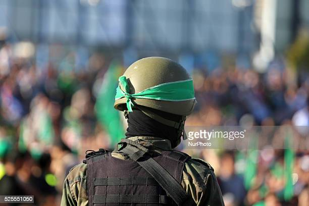 Palestinians supporter of the Islamist movement Hamas during an antiIsrael rally in Gaza City on April 28 2016