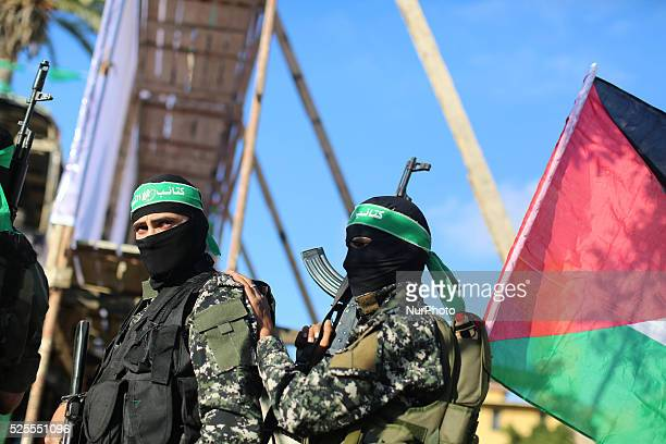 Palestinians supporter of the Islamist movement Hamas during an anti-Israel rally in Gaza City on April 28, 2016.
