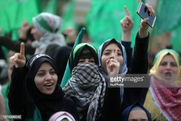 Palestinians take part in a rally marking the 31st anniversary of Hamas' founding, in Gaza City December 16, 2018.