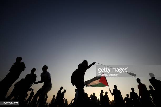 "Palestinians take part in the ""Great March of Return"" demonstration near Israel-Gaza border, in Khan Yunis, Gaza on September 28, 2018."