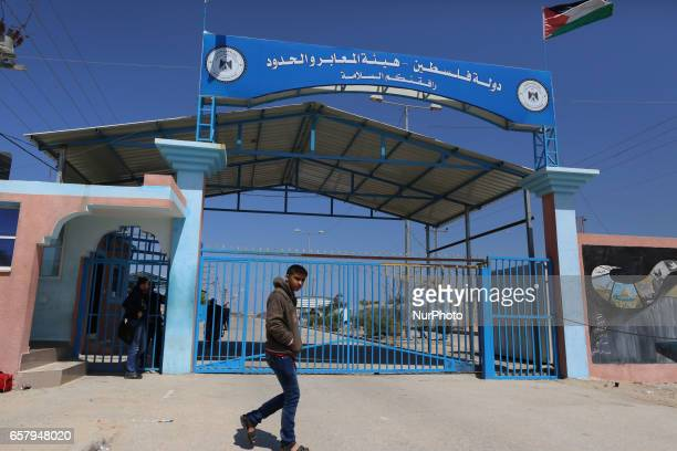 Palestinians wait at Erez border crossing into Israel in Beit Hanun in the northern Gaza Strip on March 26 after it was shut by the Islamist movement...