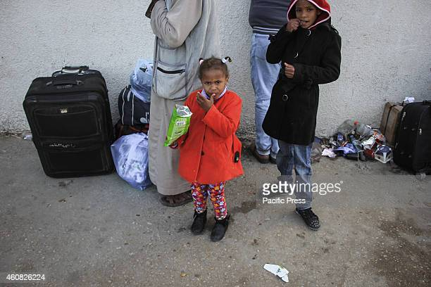 Palestinians waiting chance to cross the Rafah border between the Gaza Strip and Egypt at southern Gaza Strip after reports that Egypt opened the...