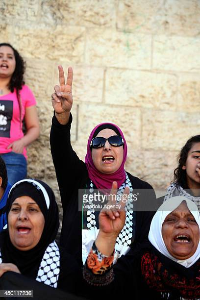 Palestinians women shout slogans during a demonstration to mark the ''Naksa Day'' on June 5 2014 at Damascus Gate in Jerusalem Israel Palestinians...