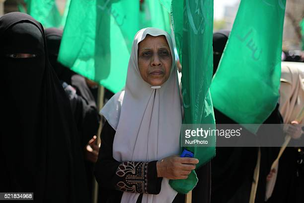 Palestinians women takes part in a rally marking Palestinian Prisoner Day in Gaza City April 17 2016