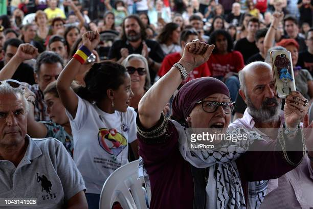Palestininas attend Ahed Tamimi to take part in the FiestaPCE18 in a great act of solidarity with Palestine in Madrid on 29th September 2018 Ahed...