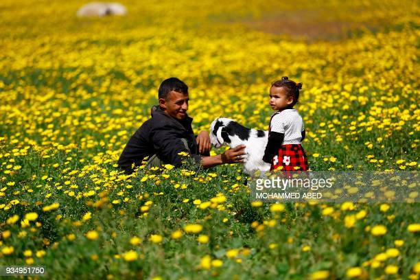 A Paletsinian man and his daughter pet a goat amid mustard flowers in Gaza City on March 20 as the official start of spring is marked by the Vernal...