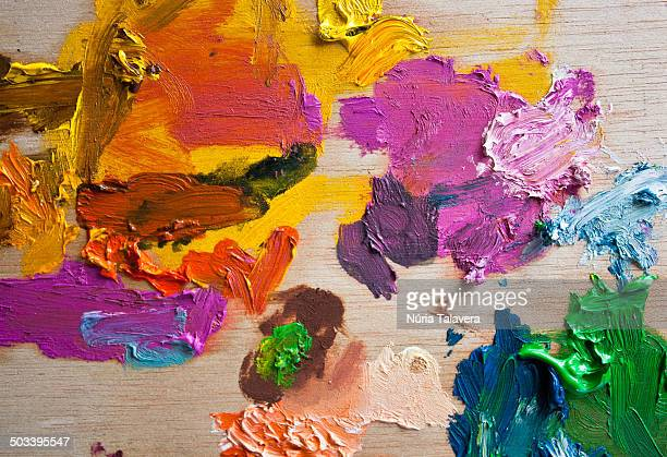 Palette for oil painting. Mixing colors