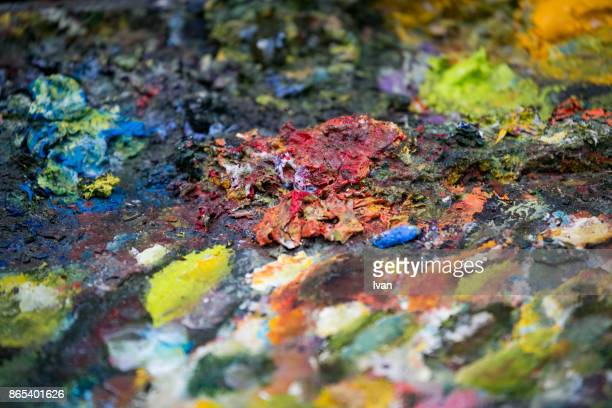 A palette of colors used for a painting