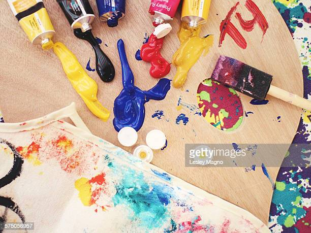 Palette used for painting with acrylic paints