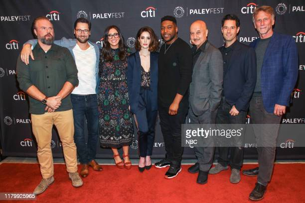 PaleyFest NY in New York City on Tuesday, October 15, 2019 -- Pictured: Tyler Labine; Ryan Eggold; Savannah Sellers, Moderator, NBC News...