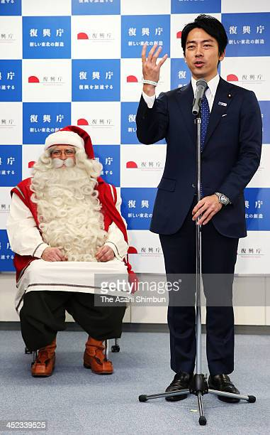 Paliamentary Secretary For Reconstruction Shinjiro Koizumi attends the 'Santa Project' aims to encourage children in the earthquake and tsumani...