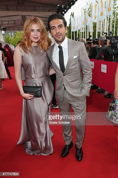 Palina Rojinski and Elyas M'Barek arrive for the German Film Award 2015 Lola at Messe Berlin on June 19 2015 in Berlin Germany