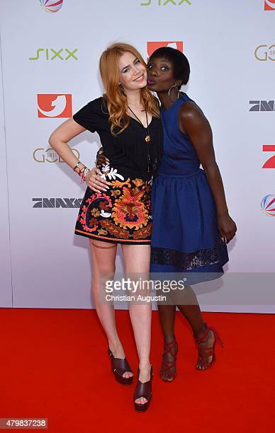Palina Rojinski and Nikeata Thompson attend the program presentation of the television channel ProSiebenSat1 at Hamburg Cruise Centre Altona on July...