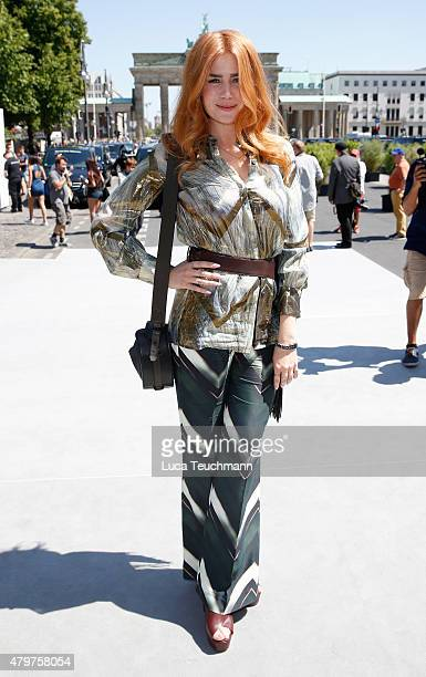 Palina Rojinski attends the Pearly Wong show during the MercedesBenz Fashion Week Berlin Spring/Summer 2016 at Brandenburg Gate on July 7 2015 in...