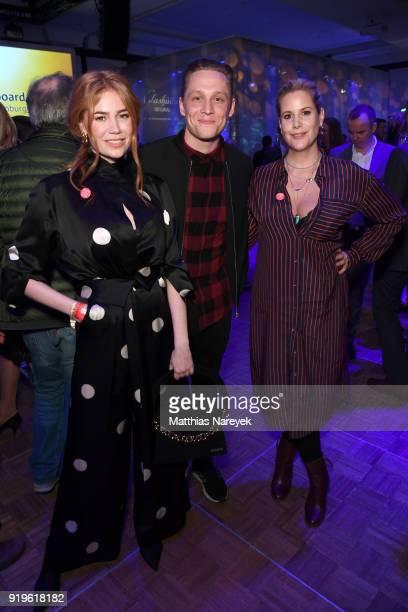 Palina Rojinski Matthias Schweighoefer and Anika Decker attend the Medienboard BerlinBrandenburg Reception during the 68th Berlinale International...