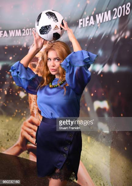 Palina Rojinski poses for a picture during the ARD and ZDF FIFA World Cup presenter team presentation on April 23 2018 in Hamburg Germany